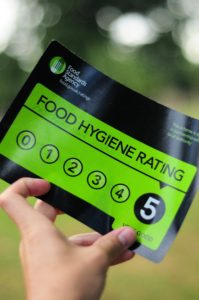 Our 5 out of 5 food hygiene rating sticker.